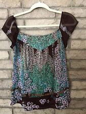 SWEET COCO & CHASE SMALL Cap Sleeve Sheer Blouse Scoop FAB Pattern & Color