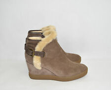 New! Aquatalia 'Cameron' Weatherproof Suede Taupe Tan Brown Wedge Bootie Sz 9.5