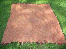 """Large Antique Embroidered Paisley Shawl Cloth 70"""" by 72"""""""
