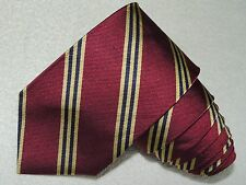 BROOKS BROTHERS MAKERS NECK TIE STRIPED PATTERN MAROON / GOLD SILK MEN'S TIE