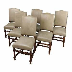 Antique Barley Twist Dining Chairs w/Cream Shark Skin Upholstery-Set of 6
