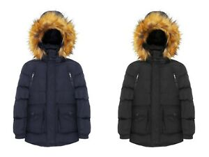 Charcoal Fashion Boy's Fur Lined Puffer Coat with Brown Hood Fur