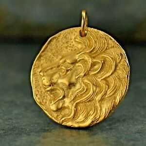 Gold Mens Necklace Lion Medallion Ancient Coin Greek Pendant Replica G1108