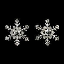 Snowflake Winter Christmas Wedding Stud Earrings Costume Jewelry Crystal Clear