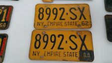 1962/63 New York State License Plates pair with tag