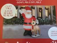 NIB Gemmy 7.5ft Christmas Airblown Inflatable Santa And Rudolph LED Lights