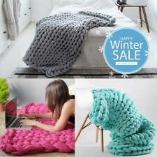 LUXURY FAUX WOOL CHUNKY HAND KNIT SOFT BLANKET SOFA BED CHAIR WARM THICK THROW