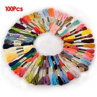 100 Docken Sticktwist Stickgarn 8m 6-fädig Multicolor farblich bunt Basteln GY