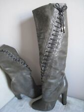 Nina Ricci Vero Guoio Olive Soft Leather High Heel Tall Boots, Size 39, Italy