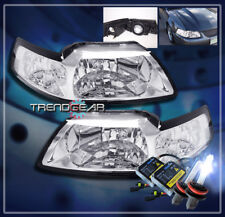 1999-2004 FORD MUSTANG CRYSTAL HEADLIGHT+HID KIT LAMP CHROME 2000 2001 2002 2003