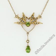 Antique Victorian 14K Gold Peridot Seed Pearl Bird Dove Open Heart Necklace