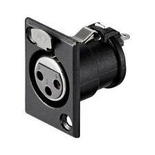 Conector chasis microfono XLR 3 pin hembra Negro