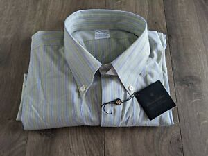 NWT Brooks Brothers Button Up Men's Sz XL Shirt Green Striped Long Sleeve $89 X8