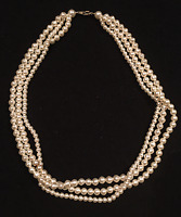 VINTAGE JEWELRY - 1960s Various Faux White Pearl 3 Strand Layered Necklace