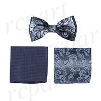 New Brand Q Men's Pre-tied Bow tie & two hankie set blue paisley formal wedding