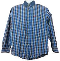 PBR Men's Size M Button Front Shirt Casual L/S Chambray Collar Blue Plaid Cotton