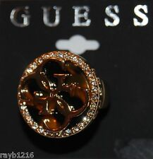 NWT Guess Gold Metal-Rhinestones-Tortishell Insert 4G Logo Stretch Band Ring