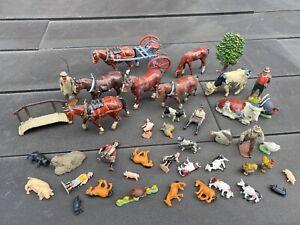 Vintage Joblot / Collection Of Lead Farm Animals & Plastic Ones