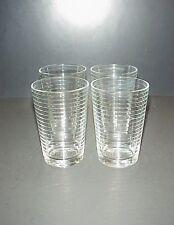 Orange Juice Tumblers Glasses Horizontal Embossed Lines Bands Set 4