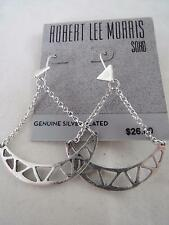 Robert Lee Morris silver plated~chain cut out charm dangle earrings, NWT