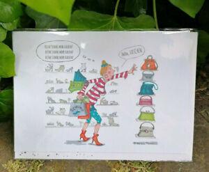 Grußkarte Doppelkarte Umschlag flotte Sprüche Cartoon Kaufrausch Schuhe Taschen