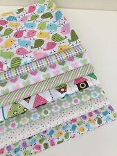 Pastel Pink Green Cotton Designer Quilt Fabric for Girls Fat Quarter Bundle x 8