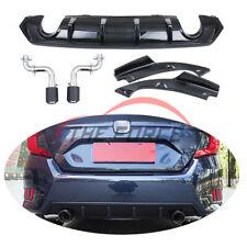 For Honda Civic 2016-18 Carbon Fiber Lip Spoiler Exhaust Pipes Muffler TSY2/348
