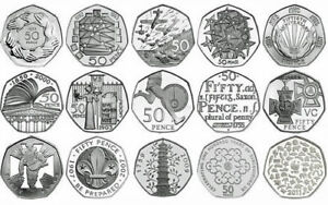 Fifty Pence 50P English Proof Uncirculated Coins Choice of Year