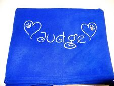 PERSONALISED DOG BLANKET - ROYAL - LOTS OF COLOURS - BEAUTIFULLY EMBROIDERED