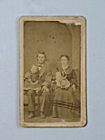 Antique 1800's CDV Photo Family Mother Father Young Daughter & Baby 6554
