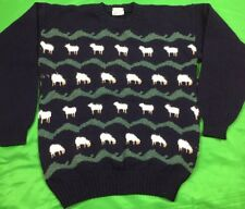 """Vtg 80's Jan Horrox Pure New Wool Lamb Sweater Unisex Sz 38"""" Made In England"""