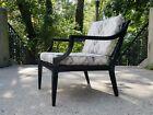 Vintage Mid Century Modernist Ebony Lacquered Walnut Lounge Chair-Merton Gershun