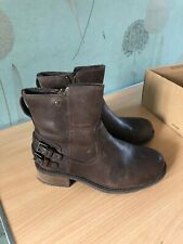 UGG ORION BROWN LEATHER BIKER BUCKLE ZIP UP ANKLE BOOTS FOR WOMEN SIZE 4.5
