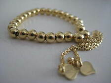 Gold beaded bracelet 9 carat yellow gold 4mm with hearts FITS AGES 0-100