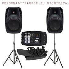 GEMINI ES 210 MX BLU KIT 2 casse passive+1 mixer 6 canali+1 microfono+stativi