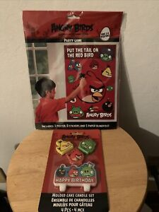Angry Birds - Pin the Tail Party Game + Candles Set - Birthday Decoration New!
