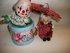 Two Porcelain Clowns, Musical & Umbrella