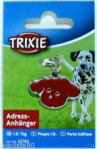 TRIXIE DOG Head SHAPED Address Tag ID Pet WRITE CONTACT DETAILS Red