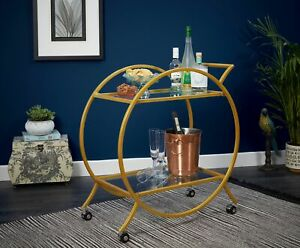 Gold Drinks Storage Trolley Kitchen Cart Bar Alcohol