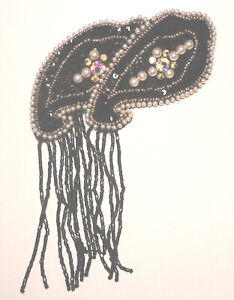 STATEMENT Huge BEADED/Sequined/FAUX PEARL/CRYSTAL  Hair Acessorie BLACK BARRETTE