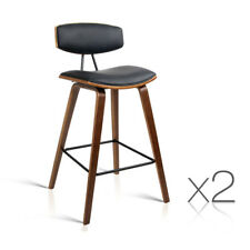 Set of 2 Wooden Bar Stools Kitchen Barstool Dining Chair Cafe Wood Black