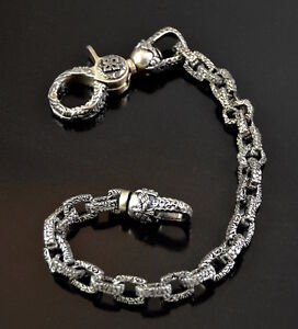 Solid .925 Sterling Silver Biker Wallet chain and clasp Made in U.S.A. luxury