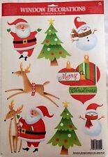 Christmas WINDOW CLING Santa Reindeer Trees Party Mirror Decoration Decal   4/1A