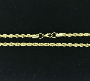 """Real 14k Gold Filled Diamond Cut Twisted French Solid Rope Necklace 4mm 30"""""""