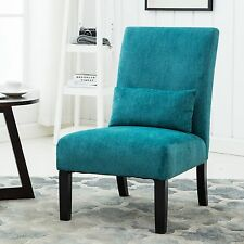Pisano Teal Blue chenille Fabric Armless Contemporary Accent Chair with Pillow