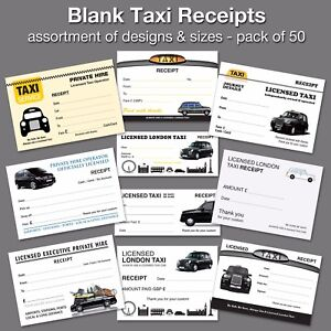 Pack of 50 Blank Taxi / Minicab / Private Hire Receipts / Tickets ✔10+ designs
