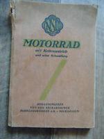 NSU Motorrad mit Kettenantrieb und seine Behandlung Heft Betriebsanleitung RAR