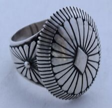 Vintage Native American, Navajo Sterling silver concho ring large by Eddy Chaco