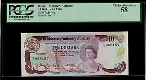 BELIZE  10 DOLLARS  1980   PICK # 40 PCGS 58 CHOICE ABOUT NEW.