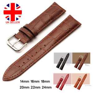 Mens Genuine Leather Watch Strap Band  Black Brown 14mm 16mm 18mm 20mm 22mm 24mm